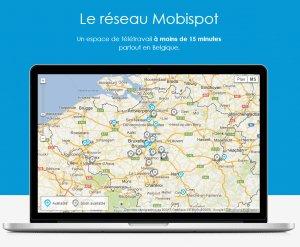 Mobispot est une start-up bruxelloise lancée par Pierre Vreuls qui doit permettre à ses clients de disposer d'un bureau fonctionnel à 15 minutes en voiture du lieu où ils se trouvent.