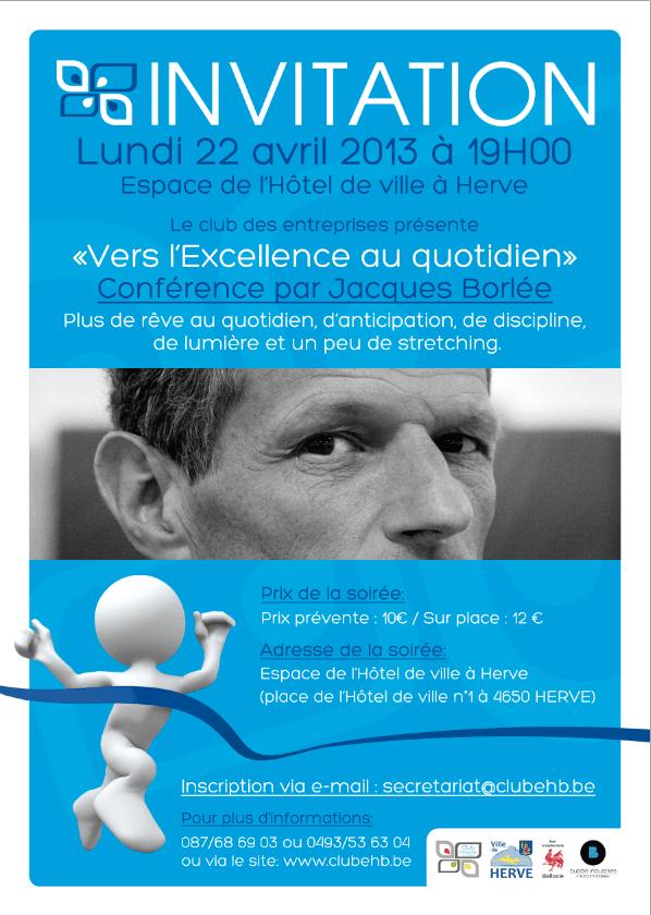 Vers l'excellence au quotidien : conférence de Jacques Borlée